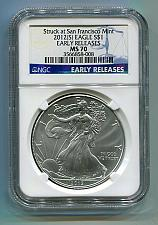 Buy 2012(S) AMERICAN SILVER EAGLE SAN FRANCISCO MINT LABEL NGC MS70 EARLY RELEASE