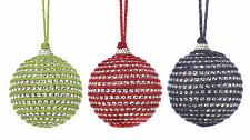 "Buy *17586U - Holiday Jute & Acrylic Bead Gems 3"" Ball Tree Ornament 3pc Set"