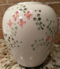 Buy Shabby Chic Signed White Vase Sprinkled with Hand-Painted Pink Flowers & Leaves