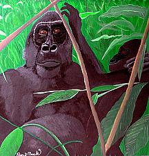 Buy GORILLA MOTHER AND BABY ORIGINAL PAINTING on canvas