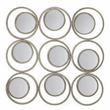 Buy *17275U - Revolution Off White Iron Circle In Circles Metal Round Wall Mirrors