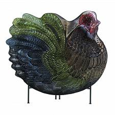 Buy *18587U - Rooster Metallic Finish Decorative Collector Plate w/Metal Stand