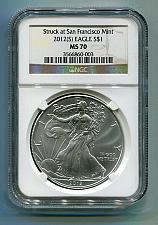 Buy 2012(S) AMERICAN SILVER EAGLE SAN FRANCISCO MINT LABEL NGC MS70 BROWN LABEL PQ