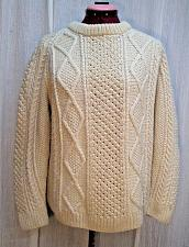 Buy S52J The Irish Shop Hand Knit Fishermans Aran Cable Knit Sweater Pullover Mens M