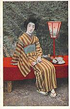 Buy Japan circa.1920's - Tokyo Geisha SAKAE (Prosperous Destiny) Posed on Bench