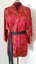 "Buy r69 Vintage Red Gold Asian Pagoda Scene Brocade Satiny Robe Kimono 40"" Chest"
