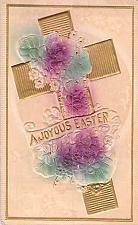 Buy A Joyous Easter, Cross Embossed Air Brushed Vintage Postcard #2