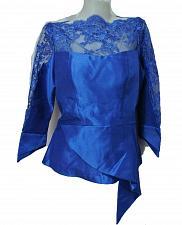 Buy Blue Lao Laos Long Sleeve Silk Blouse Lace Classic Round Neckline Size L