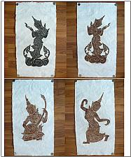 "Buy THAI TEMPLE RUBBINGS-STANDING MUSICIAN&DANCER COLLECTIBLE VINTAGE SIZE 12""X24"""