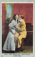 Buy Will You Practice This Piece Wtih Me Couple , Vintage Romance Postcard