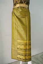 Buy Myanmar Green-Yellow Synthetic Silk Fabric For Skirt Wedding dress Longyi Sarong