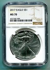 Buy 2017 AMERICAN SILVER EAGLE NGC MS70 NEW BROWN LABEL AS SHOWN PREMIUM QUALITY PQ