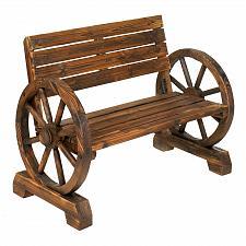 Buy 12690U - Wagon Wheel Love Seat Bench Wood