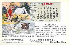 Buy 1914 Advertising with Calendar, Artist Signed Glenville, Minn Vintage Postcard