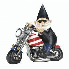 Buy *18054U - Biker Gnome Solar LED Headlight Garden Statue Yard Art
