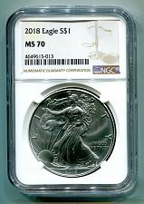 Buy 2018 AMERICAN SILVER EAGLE NGC MS70 NEW BROWN LABEL AS SHOWN PREMIUM QUALITY PQ