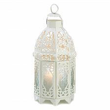 Buy 13364U - White Lattice Cutwork Iron Candle Lantern Pressed Glass Panels