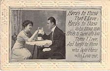 Buy Here's To Those That I Love, Embossed Fancy Border Vintage Romance Postcard