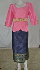 Buy Pink Lao Laos Synthetic Silk 3/4 Sleeve Blouse Blue Sinh Skirt Outfit Size L