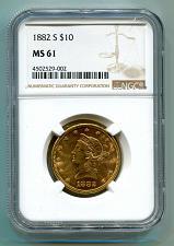 Buy 1882-S TEN DOLLAR LIBERTY GOLD NGC MS61 NICE ORIGINAL COIN PREMIUM QUALITY PQ