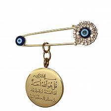 Buy Islam muslim Allah Al-IKHlAS evil eye Stainless Steel Scarf Hijab Pin brooch