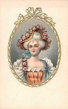 Buy Victorian Era Woman, Embossed, Linen Front, German Printed Vintage Postcard