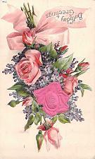 Buy Birthday Greetings Embossed With Silk Flower Vintage Postcard