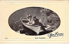 Buy Just Landed, You Know, Embossed Fancy Border Vintage Romance Postcard