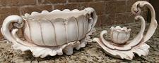 Buy Vintage Freeman McFarlin Pottery Gold-Tipped Candle Holder & Planter Set