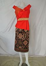 Buy Red Lao Laos Synthetic Silk Sleeveless Blouse Black Sinh Skirt Outfit Size M