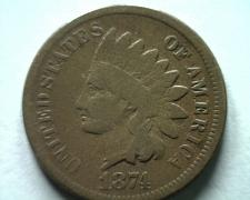 Buy 1874 INDIAN CENT PENNY VERY GOOD VG NICE ORIGINAL COIN FROM BOBS COINS FAST SHIP