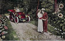 Buy Won't You Take A Stroll With Me Automobile Vintage Romance Postcard