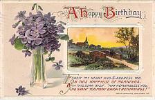 Buy A Happy Birthday (Wishes) Pastoral Scene Embossed Vintage Postcard