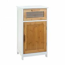 Buy *18320U - Bamboo Wood White/Brown Floor Cabinet 1 Door 1 Drawer