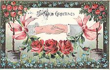Buy A Happy Birthday,Embossed, Roses Hand Holding Vintage Postcard