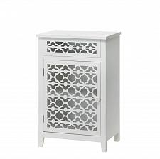 Buy *15874U - Meadow Lane Floral White Wood Accent Table Storage Cabinet