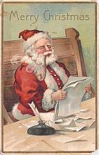Buy Merry Christmas Santa Reading the Naughty & Nice List Embossed Vintage Postcard