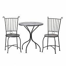 Buy *15460U - Outdoor Bistro Style Black Metal Lattice Table & Chairs Patio Set