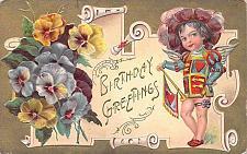 Buy Birthday Greetings Young Child Embossed Vintage Postcard