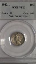 Buy 1942/1 MERCURY DIME. OVERDATE. PCGS GRADED VF-20. LOW MINTAGE. KEY DATE COIN.