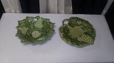 Buy Vintage Caldas Portugal Portuguese Grape Majolica Dish Plate Bowl Set 498 & 182