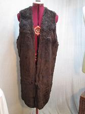 """Buy F87 Vintage Genuine FUR Vest Sheared Brown Rabbit 36"""" Long Vest Bust 38-40"""""""