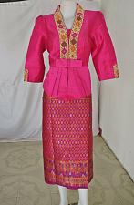 Buy Pink Lao Laos Synthetic Silk 3/4 Sleeve Blouse Sinh Skirt Clothing Outfit Size L