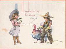 Buy Thanksgiving Blessings Attend You, Cowboy and Cowgirl Turkey Vintage Postcard