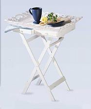 Buy 33139U - White Finish Elegant Carved Wood Tray Stand 2 Drawers Folding Legs