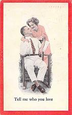 Buy Tell Me Who You Love Couple , Vintage Romance Postcard