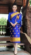 Buy Lao Laos 3/4 Sleeve Silk Blouse Sinh Skirt Pha Bieng Beads Wedding Size 0-12
