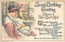 Buy Second Birthday Greeting, Member of the Cradle Roll Art Signed Vintage Postcard