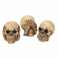 Buy *17293U - See Hear Speak No Evil Skull Head Figurines Trio