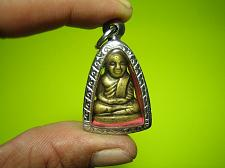 Buy BE 2515 Old Brass Statue Phra LP NGERN Thai Buddha Amulet Wealth Authentic